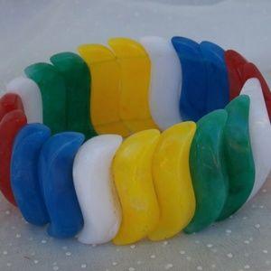 Vintage Primary Colors Plastic Stretch Bracelet